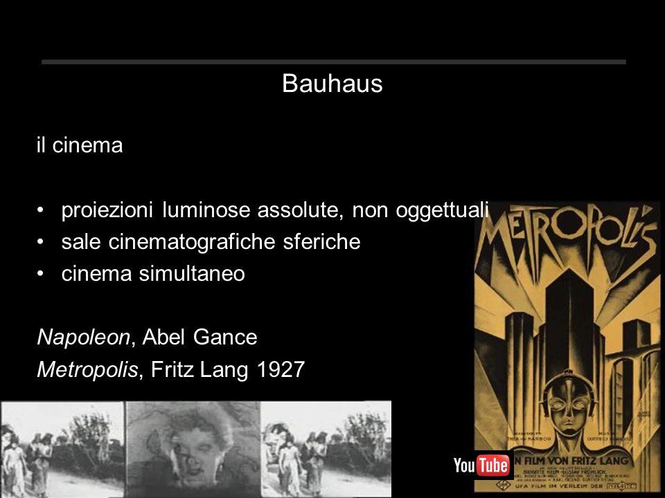 Bauhaus proiezioni luminose assolute, non oggettuali sale cinematografiche sferiche cinema simultaneo Napoleon, Abel Gance Metropolis, Fritz Lang 1927