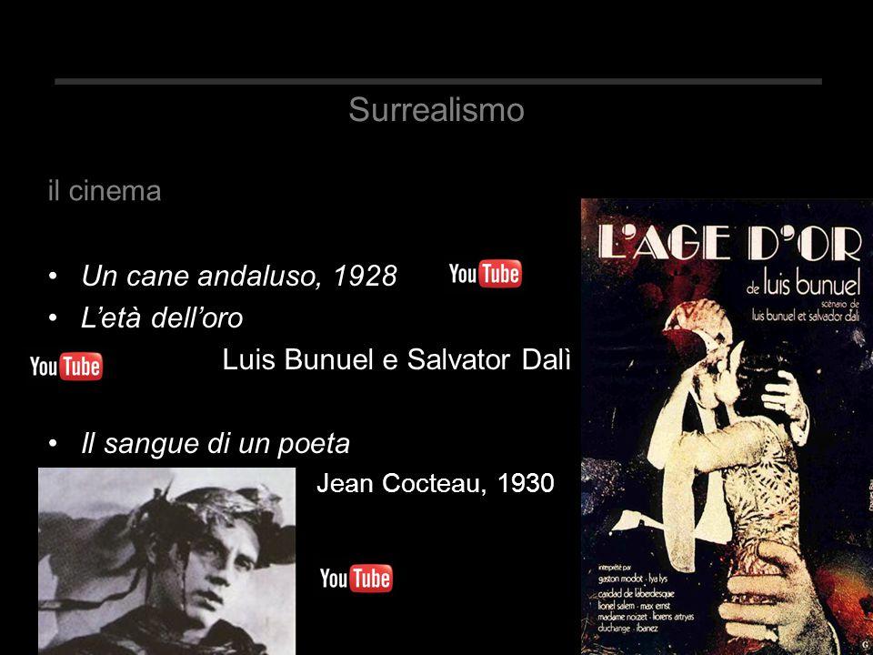 Surrealismo Un cane andaluso, 1928 L'età dell'oro Luis Bunuel e Salvator Dalì Il sangue di un poeta Jean Cocteau, 1930 il cinema
