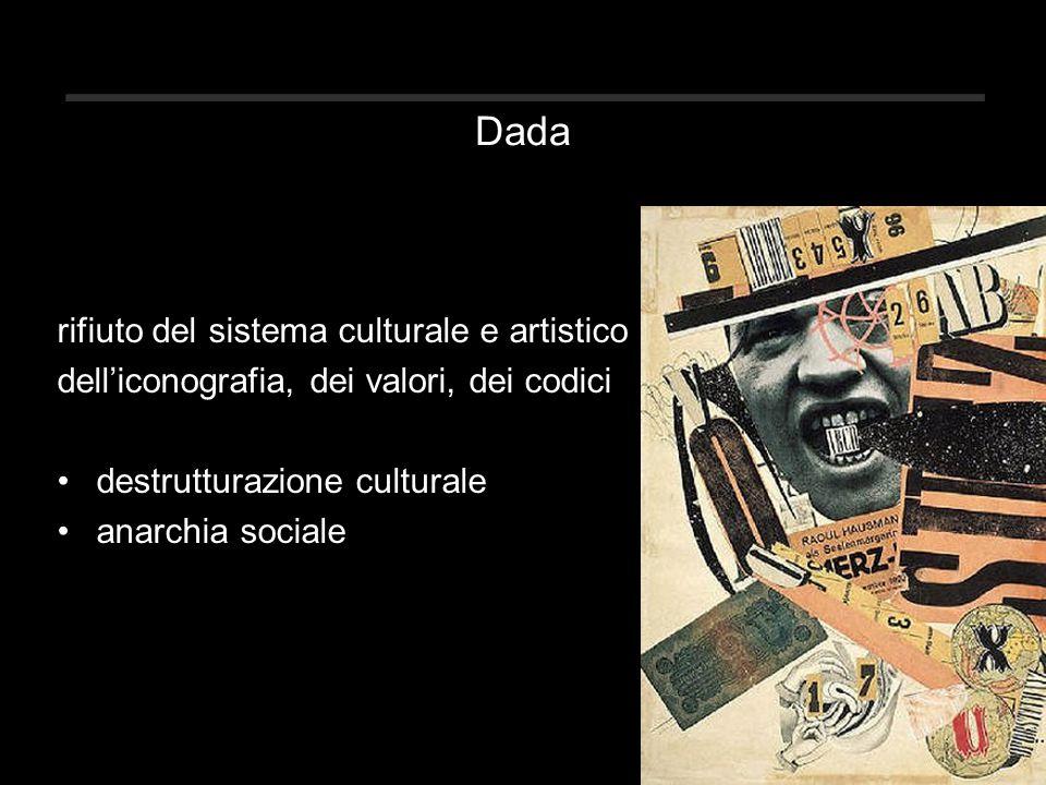 Dada rifiuto del sistema culturale e artistico dell'iconografia, dei valori, dei codici destrutturazione culturale anarchia sociale