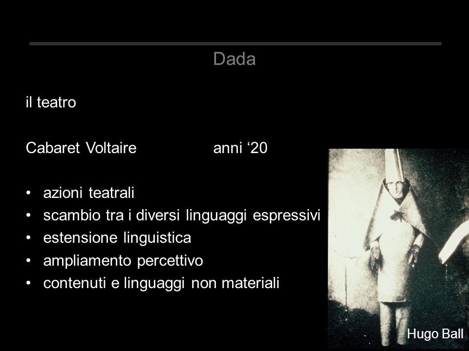 Dada Cabaret Voltaireanni '20 azioni teatrali scambio tra i diversi linguaggi espressivi estensione linguistica ampliamento percettivo contenuti e lin