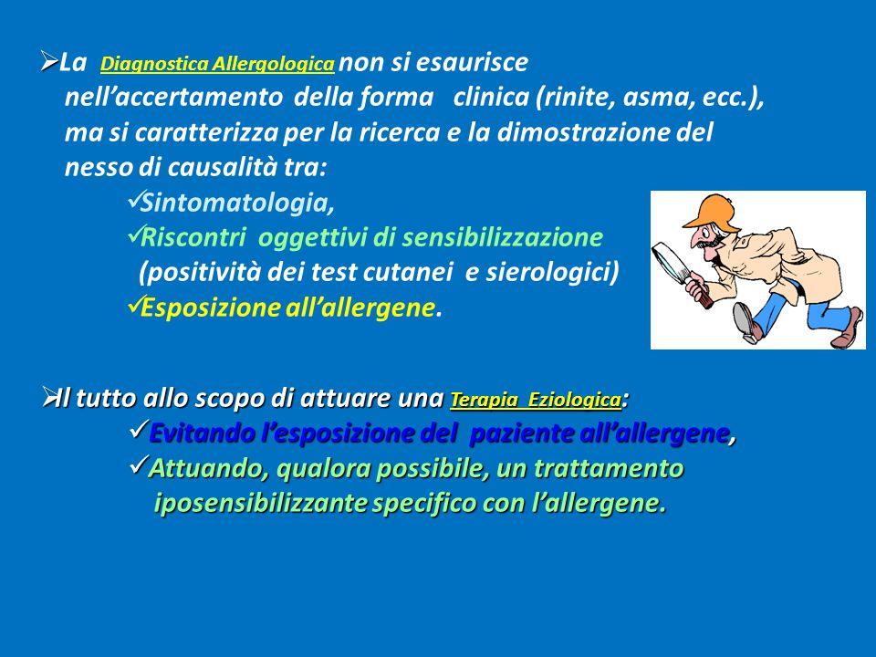  L'Iter Diagnostico deve tenere presenti : Definizione della malattia; Definizione della malattia; Stadiazione del livello di gravità clinica della patologia d'organo; Stadiazione del livello di gravità clinica della patologia d'organo; Individuazione dell'eventuale sensibilizzazione allergica; Individuazione dell'eventuale sensibilizzazione allergica; Verifica del nesso di causalità tra esposizione ambientale e Verifica del nesso di causalità tra esposizione ambientale e allergopatia; allergopatia; Accertamento della presenza di comorbilità: Accertamento della presenza di comorbilità:  associata (es.