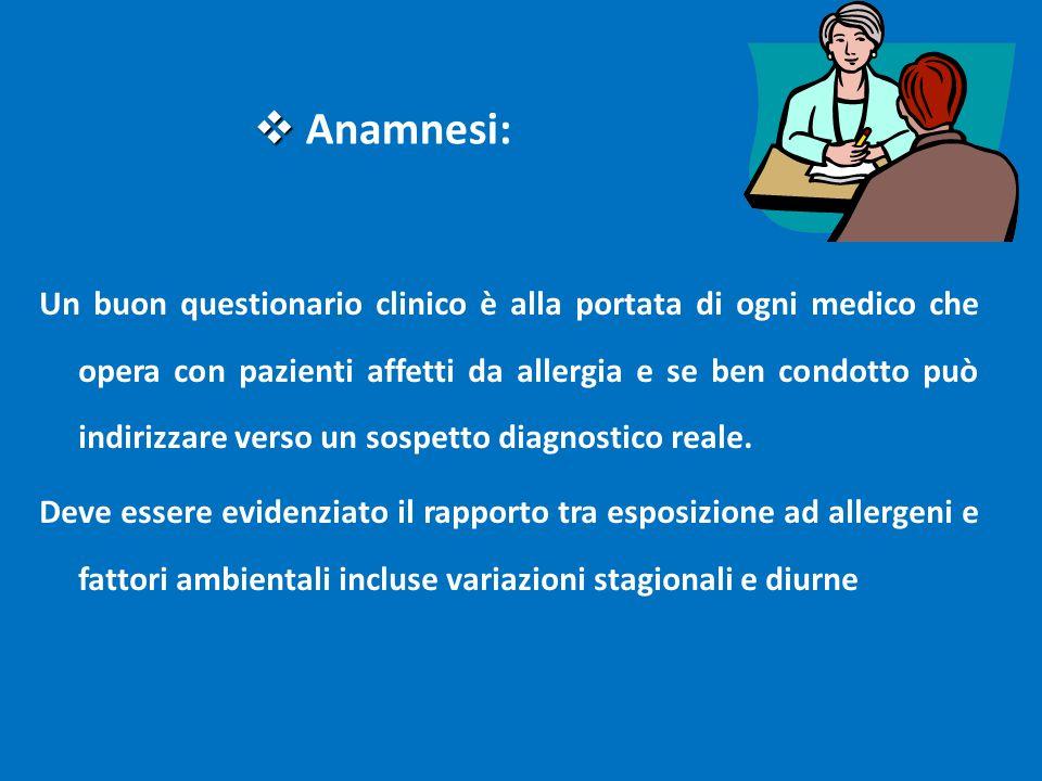 Un buon questionario clinico è alla portata di ogni medico che opera con pazienti affetti da allergia e se ben condotto può indirizzare verso un sospe