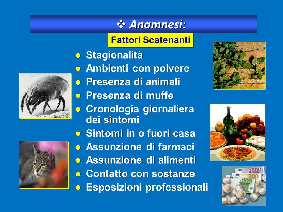 Stagionalità Ambienti con polvere Presenza di animali Presenza di muffe Cronologia giornaliera dei sintomi Sintomi in o fuori casa Assunzione di farma