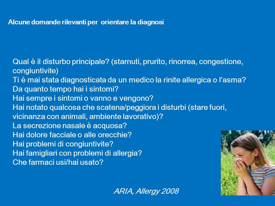 Qual è il disturbo principale? (starnuti, prurito, rinorrea, congestione, congiuntivite) Ti è mai stata diagnosticata da un medico la rinite allergica