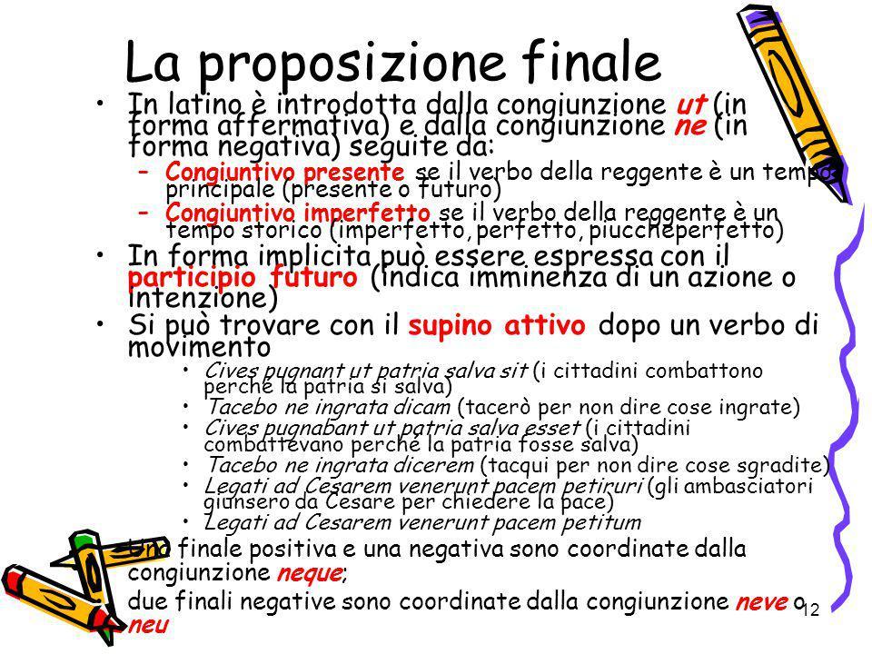 12 La proposizione finale In latino è introdotta dalla congiunzione ut (in forma affermativa) e dalla congiunzione ne (in forma negativa) seguite da: