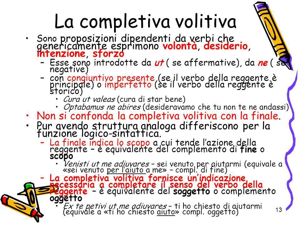 13 La completiva volitiva Sono proposizioni dipendenti da verbi che genericamente esprimono volontà, desiderio, intenzione, sforzo –Esse sono introdot