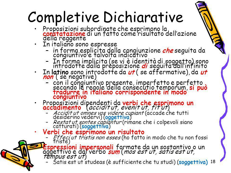 Completive Dichiarative Proposizioni subordinate che esprimono la constatazione di un fatto come risultato dell'azione della reggente In italiano sono