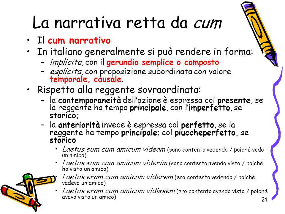 21 La narrativa retta da cum Il cum narrativo In italiano generalmente si può rendere in forma: –implicita, con il gerundio semplice o composto –espli