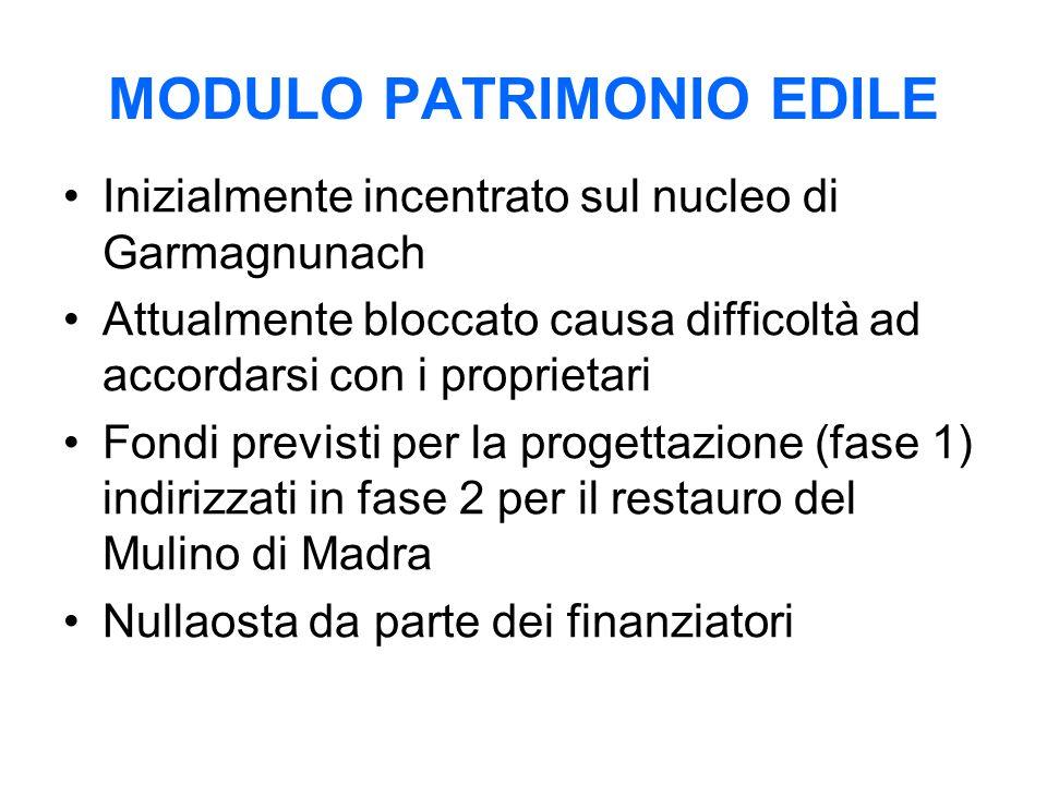 MODULO PATRIMONIO EDILE Inizialmente incentrato sul nucleo di Garmagnunach Attualmente bloccato causa difficoltà ad accordarsi con i proprietari Fondi