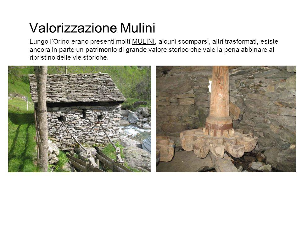 Valorizzazione Mulini Lungo l'Orino erano presenti molti MULINI, alcuni scomparsi, altri trasformati, esiste ancora in parte un patrimonio di grande valore storico che vale la pena abbinare al ripristino delle vie storiche.
