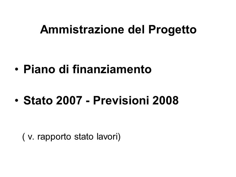 Ammistrazione del Progetto Piano di finanziamento Stato 2007 - Previsioni 2008 ( v. rapporto stato lavori)