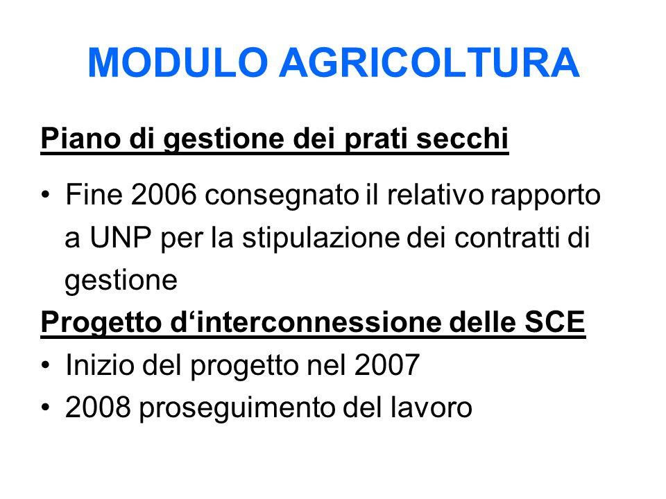 MODULO AGRICOLTURA Piano di gestione dei prati secchi Fine 2006 consegnato il relativo rapporto a UNP per la stipulazione dei contratti di gestione Progetto d'interconnessione delle SCE Inizio del progetto nel 2007 2008 proseguimento del lavoro