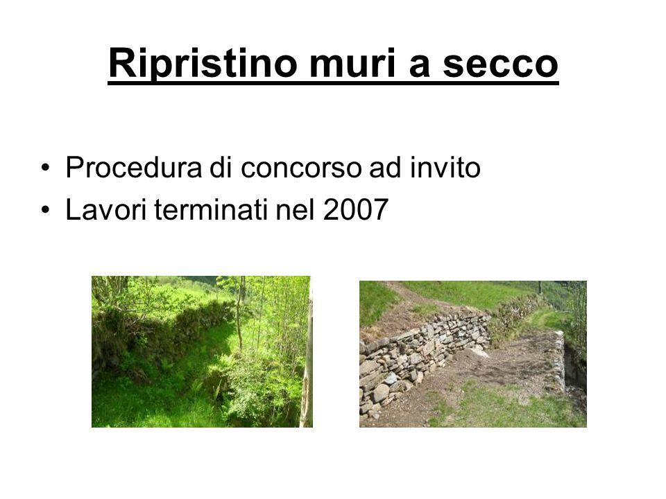 Procedura di concorso ad invito Lavori terminati nel 2007 Ripristino muri a secco
