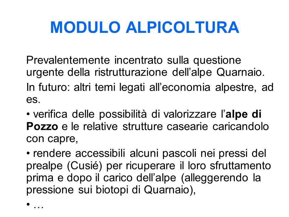 MODULO ALPICOLTURA Prevalentemente incentrato sulla questione urgente della ristrutturazione dell'alpe Quarnaio. In futuro: altri temi legati all'econ
