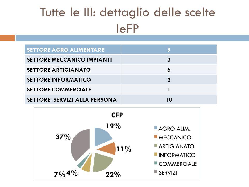 Tutte le III: dettaglio delle scelte IeFP SETTORE AGRO ALIMENTARE5 SETTORE MECCANICO IMPIANTI3 SETTORE ARTIGIANATO6 SETTORE INFORMATICO2 SETTORE COMME