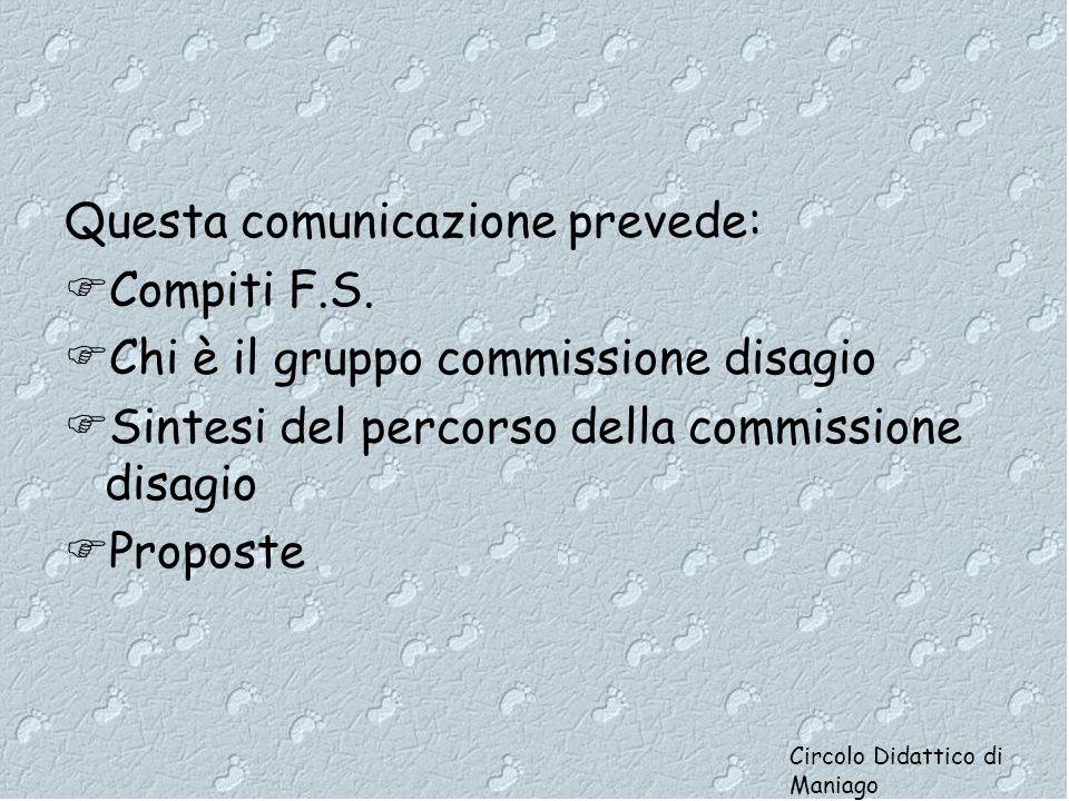 Questa comunicazione prevede:  Compiti F.S.