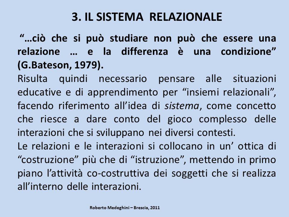 """Roberto Medeghini – Brescia, 2011 3. IL SISTEMA RELAZIONALE """"…ciò che si può studiare non può che essere una relazione … e la differenza è una condizi"""