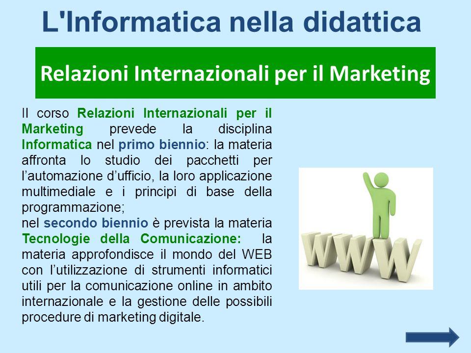 Il corso Relazioni Internazionali per il Marketing prevede la disciplina Informatica nel primo biennio: la materia affronta lo studio dei pacchetti pe