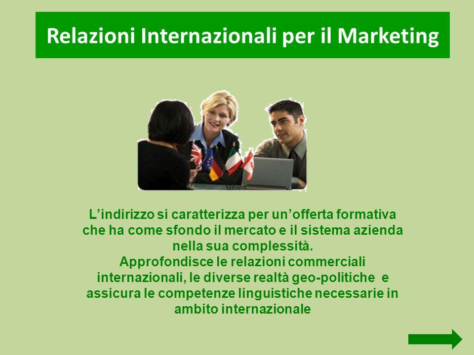 Relazioni Internazionali per il Marketing L'indirizzo si caratterizza per un'offerta formativa che ha come sfondo il mercato e il sistema azienda nell