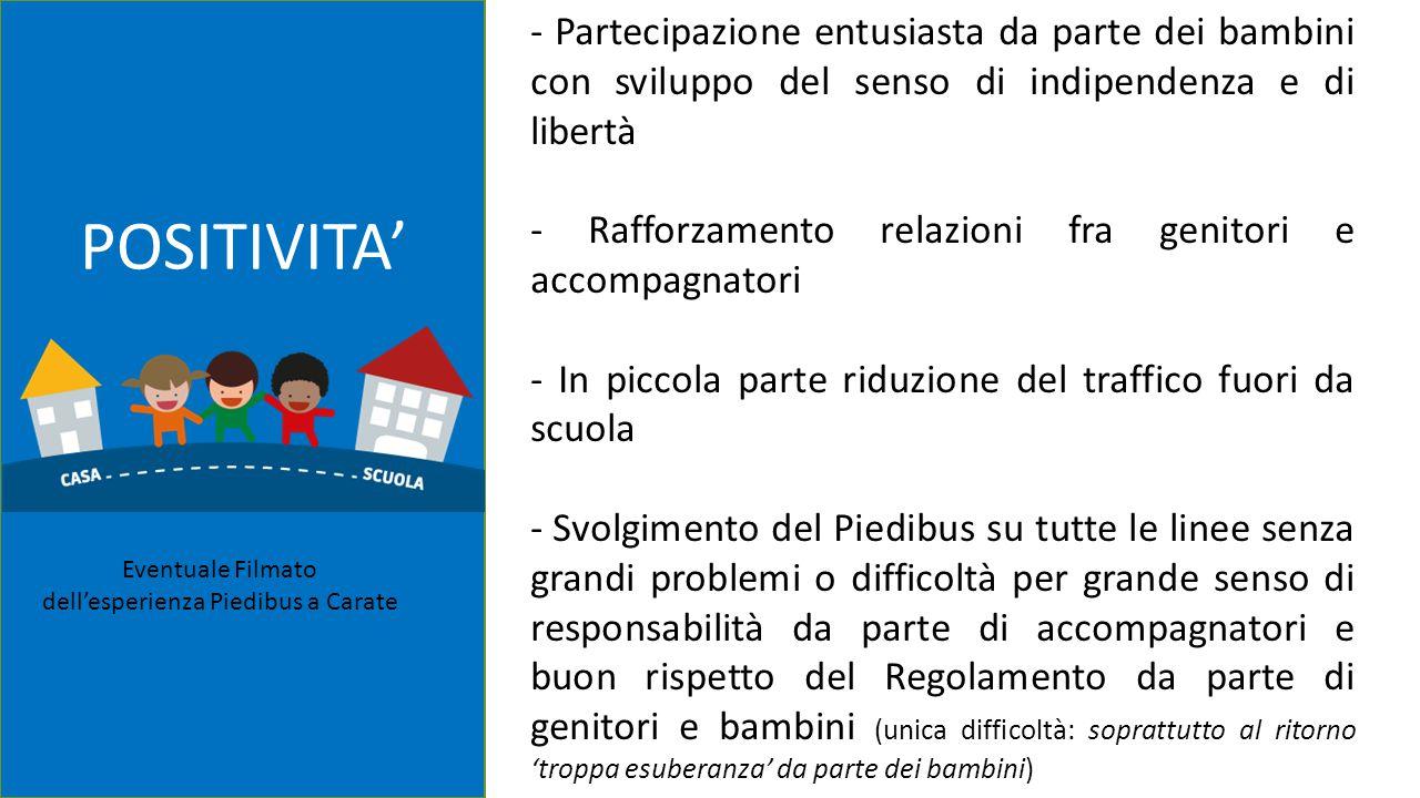 1/3 ITER ORGANIZZATIVO POSITIVITA' - Partecipazione entusiasta da parte dei bambini con sviluppo del senso di indipendenza e di libertà - Rafforzament