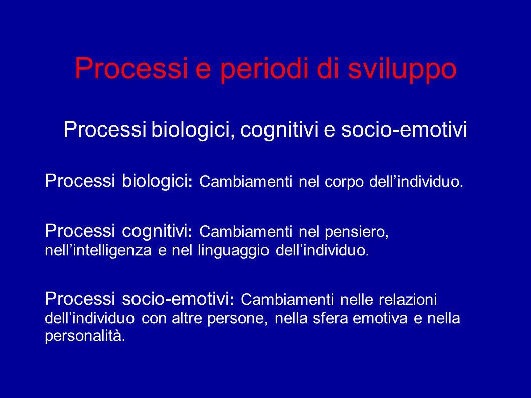 Processi e periodi di sviluppo Processi biologici, cognitivi e socio-emotivi Processi biologici : Cambiamenti nel corpo dell'individuo. Processi cogni