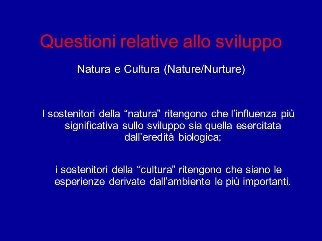 """Questioni relative allo sviluppo Natura e Cultura (Nature/Nurture) I sostenitori della """"natura"""" ritengono che l'influenza più significativa sullo svil"""
