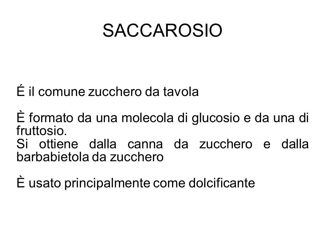 SACCAROSIO É il comune zucchero da tavola È formato da una molecola di glucosio e da una di fruttosio.