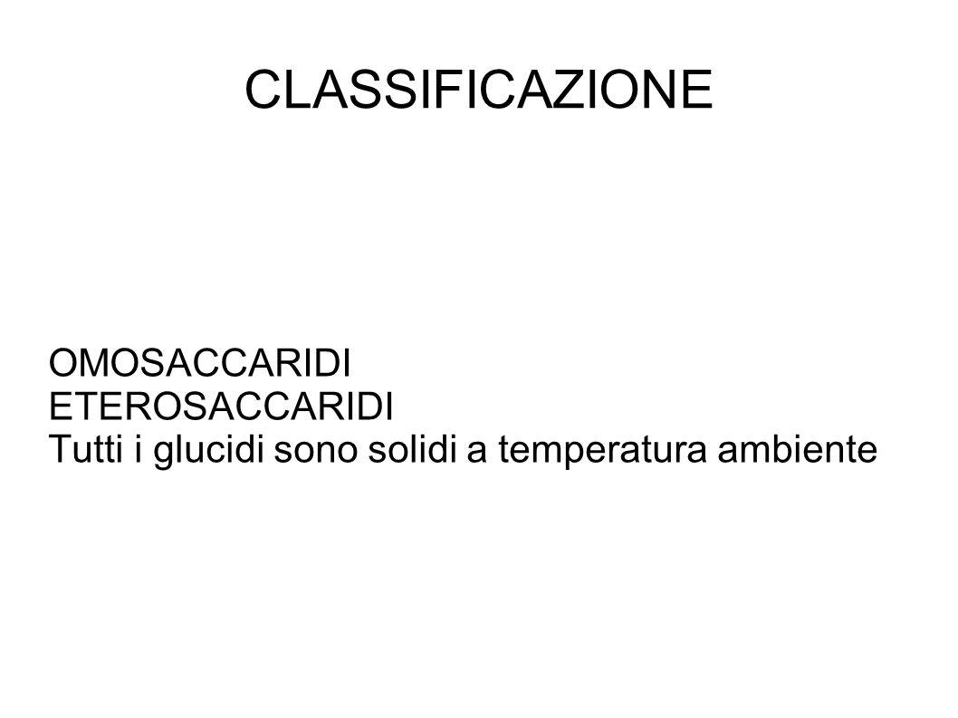 CLASSIFICAZIONE OMOSACCARIDI ETEROSACCARIDI Tutti i glucidi sono solidi a temperatura ambiente