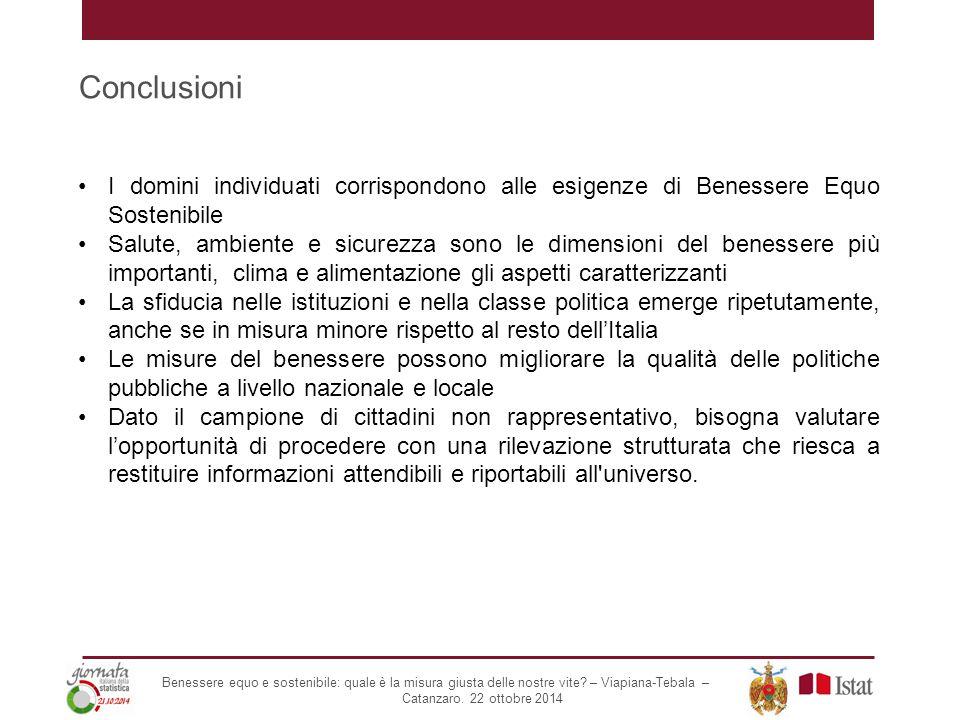 Conclusioni I domini individuati corrispondono alle esigenze di Benessere Equo Sostenibile Salute, ambiente e sicurezza sono le dimensioni del benesse