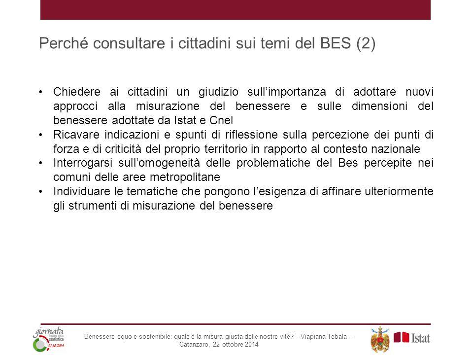 Perché consultare i cittadini sui temi del BES (2) Chiedere ai cittadini un giudizio sull'importanza di adottare nuovi approcci alla misurazione del b