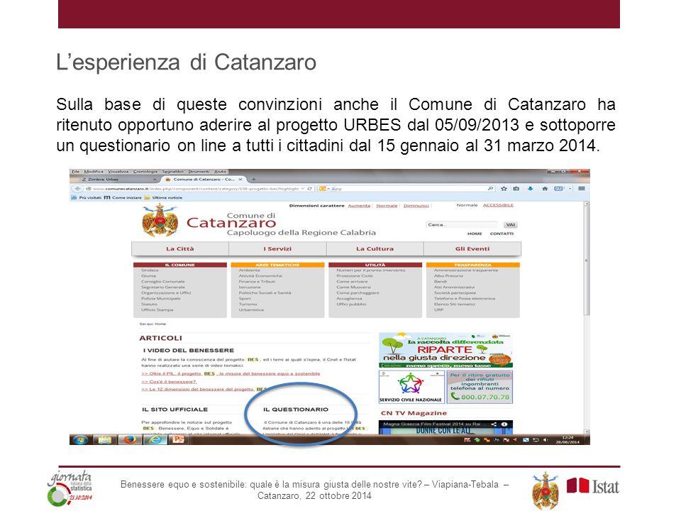 L'esperienza di Catanzaro Sulla base di queste convinzioni anche il Comune di Catanzaro ha ritenuto opportuno aderire al progetto URBES dal 05/09/2013