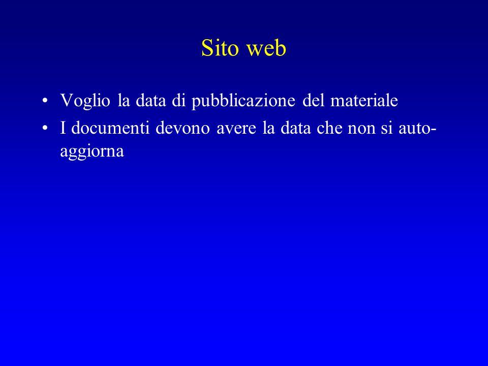 Sito web Voglio la data di pubblicazione del materiale I documenti devono avere la data che non si auto- aggiorna