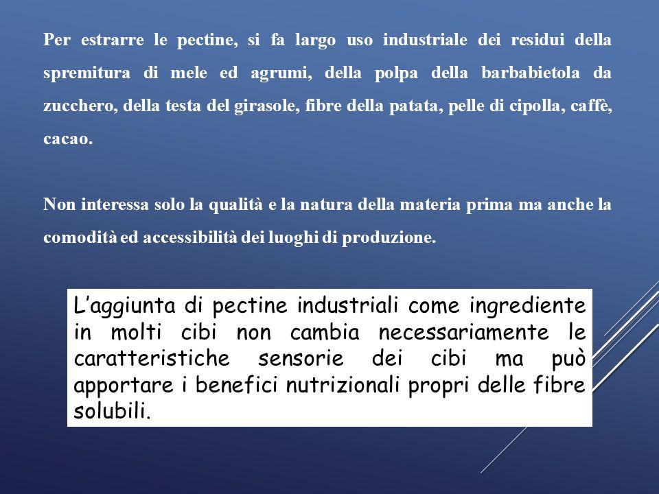 Per estrarre le pectine, si fa largo uso industriale dei residui della spremitura di mele ed agrumi, della polpa della barbabietola da zucchero, della