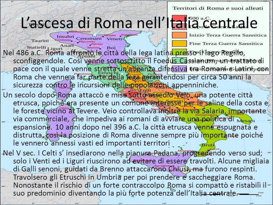 L'ascesa di Roma nell'Italia centrale Nel 486 a.C. Roma affrontò le città della lega latina presso il lago Regillo, sconfiggendole. Così venne sottosc