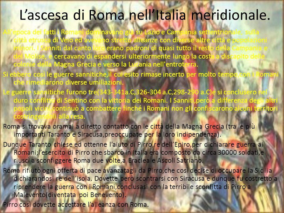 L'ascesa di Roma nell'Italia meridionale. All'epoca dei fatti i Romani dominavano già su Lazio e Campania settentrionale, sulla città etrusca di Veio
