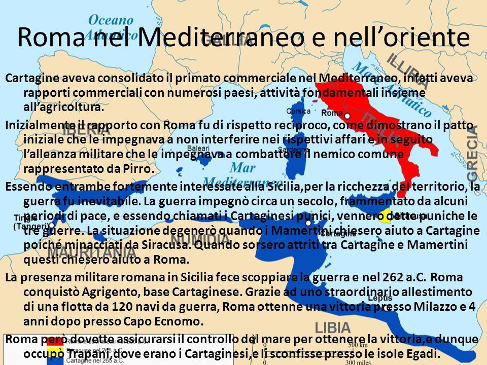 Roma nel Mediterraneo e nell'oriente Cartagine aveva consolidato il primato commerciale nel Mediterraneo, infatti aveva rapporti commerciali con numer