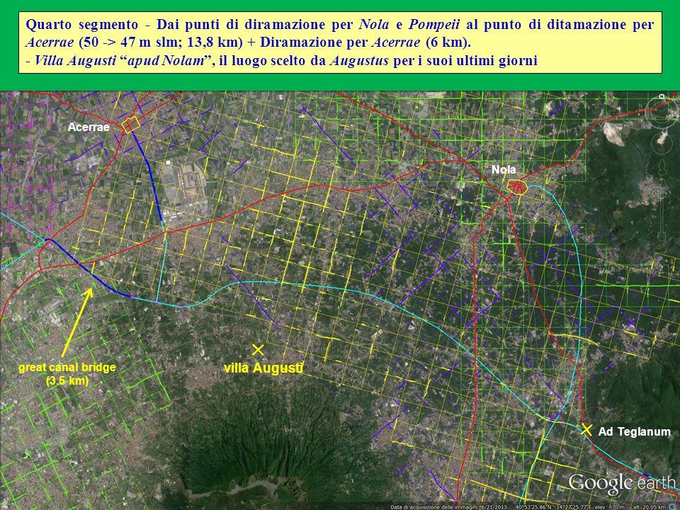 Quarto segmento - Dai punti di diramazione per Nola e Pompeii al punto di ditamazione per Acerrae (50 -> 47 m slm; 13,8 km) + Diramazione per Acerrae