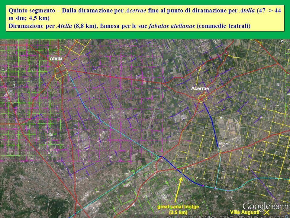 Quinto segmento – Dalla diramazione per Acerrae fino al punto di diramazione per Atella (47 -> 44 m slm; 4,5 km) Diramazione per Atella (8,8 km), famo
