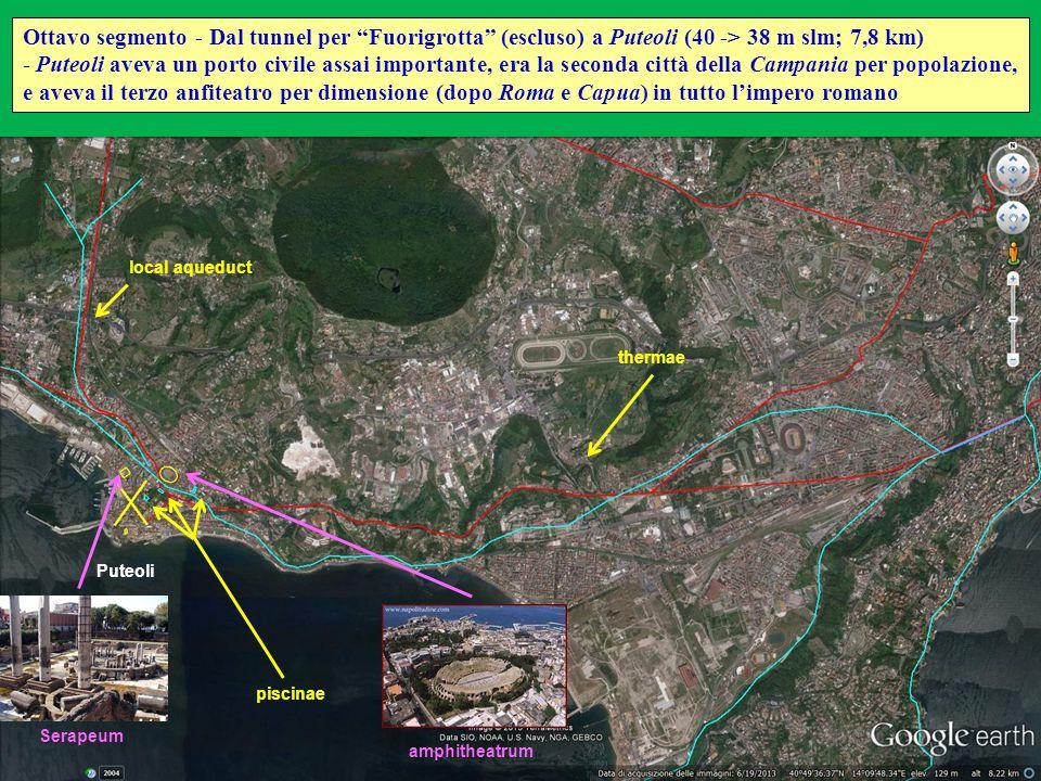 """Puteoli Ottavo segmento - Dal tunnel per """"Fuorigrotta"""" (escluso) a Puteoli (40 -> 38 m slm; 7,8 km) - Puteoli aveva un porto civile assai importante,"""