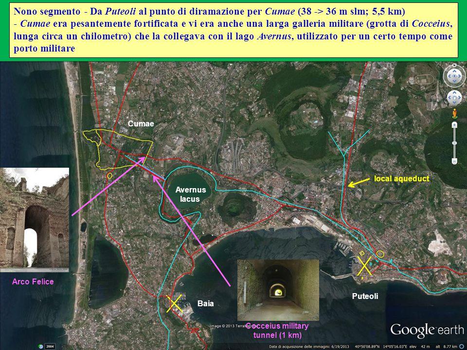 Puteoli Cumae Avernus lacus Baia Nono segmento - Da Puteoli al punto di diramazione per Cumae (38 -> 36 m slm; 5,5 km) - Cumae era pesantemente fortif