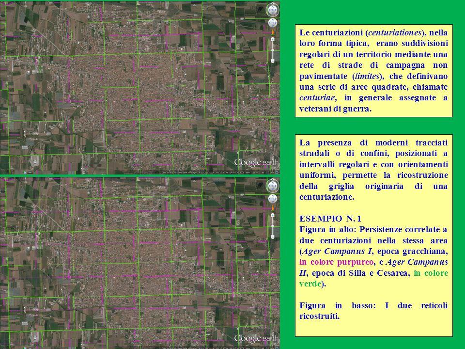 La presenza di moderni tracciati stradali o di confini, posizionati a intervalli regolari e con orientamenti uniformi, permette la ricostruzione della