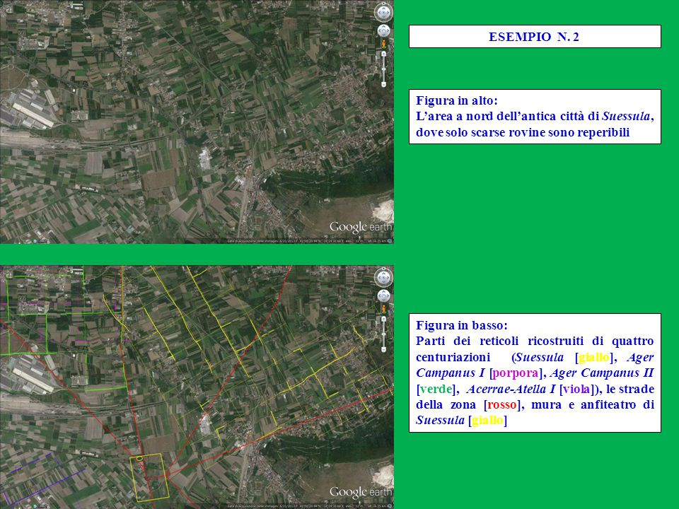 Figura in basso: Parti dei reticoli ricostruiti di quattro centuriazioni (Suessula [giallo], Ager Campanus I [porpora], Ager Campanus II [verde], Acer