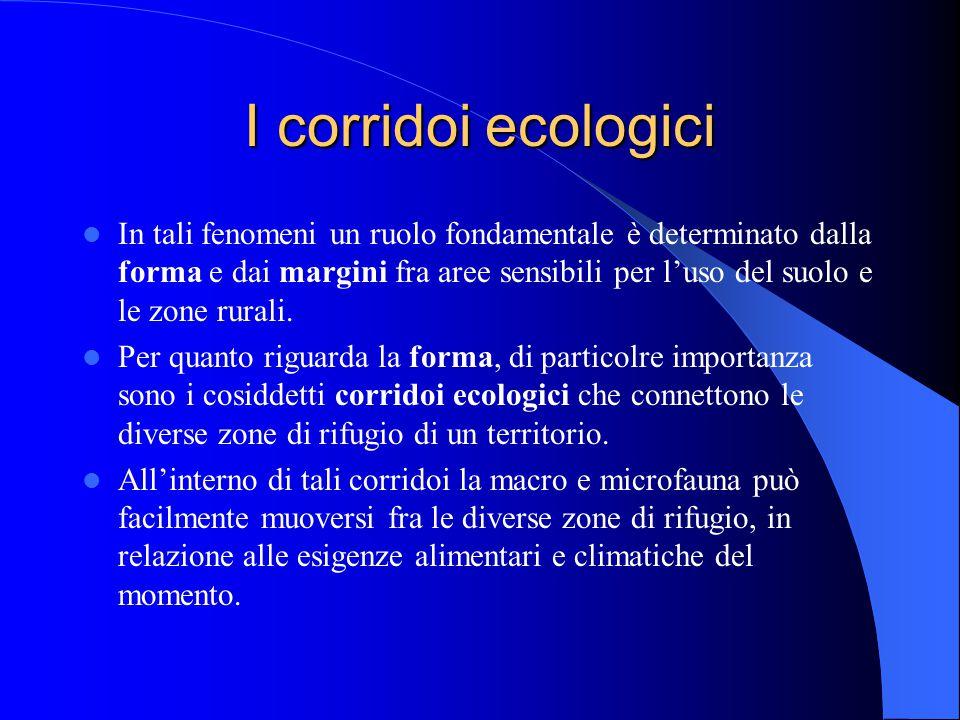 I corridoi ecologici In tali fenomeni un ruolo fondamentale è determinato dalla forma e dai margini fra aree sensibili per l'uso del suolo e le zone r