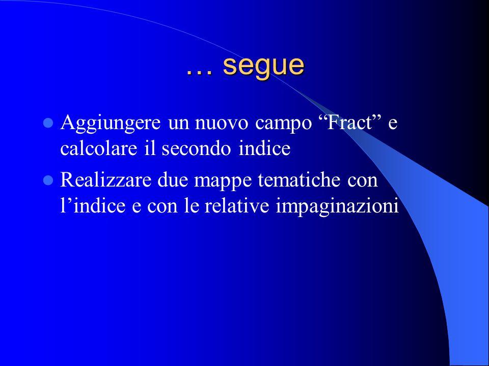 """… segue Aggiungere un nuovo campo """"Fract"""" e calcolare il secondo indice Realizzare due mappe tematiche con l'indice e con le relative impaginazioni"""
