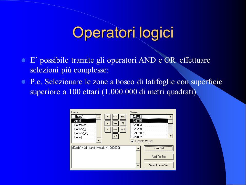 Operatori logici E' possibile tramite gli operatori AND e OR effettuare selezioni più complesse: P.e. Selezionare le zone a bosco di latifoglie con su