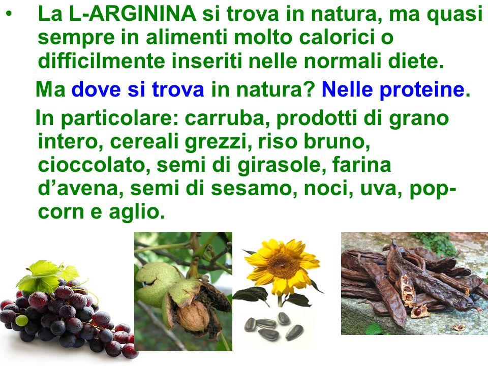 La L-ARGININA si trova in natura, ma quasi sempre in alimenti molto calorici o difficilmente inseriti nelle normali diete.