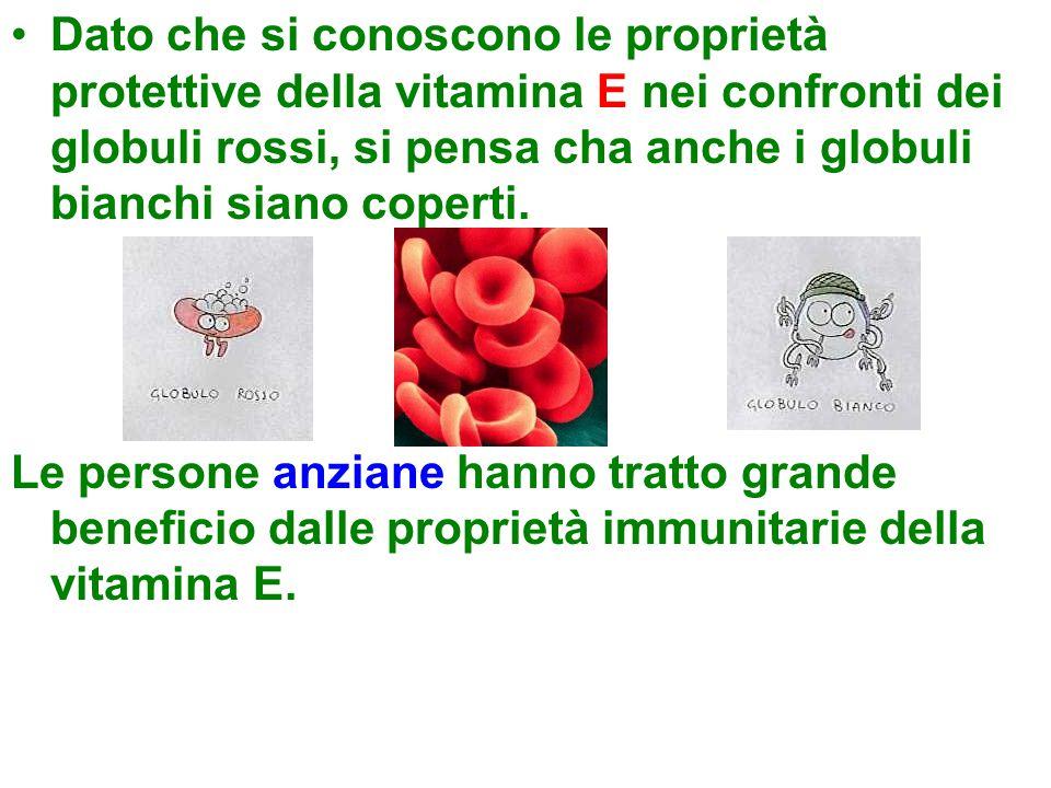 Dato che si conoscono le proprietà protettive della vitamina E nei confronti dei globuli rossi, si pensa cha anche i globuli bianchi siano coperti.