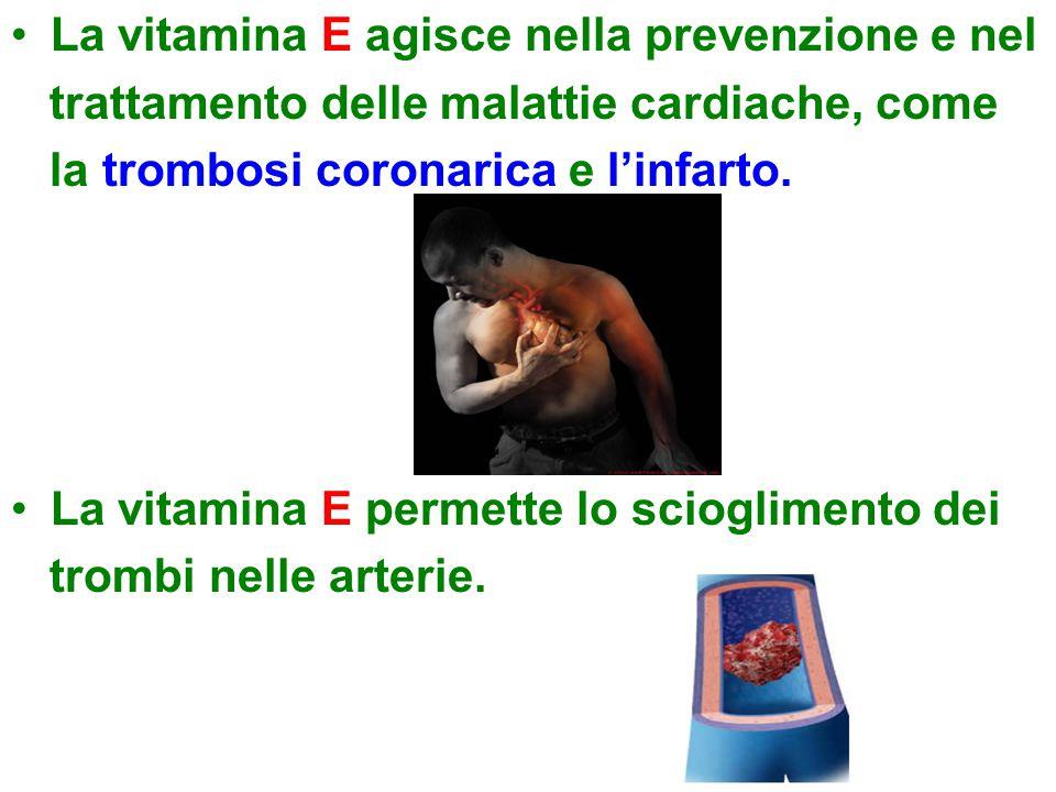 La vitamina E agisce nella prevenzione e nel trattamento delle malattie cardiache, come la trombosi coronarica e l'infarto.