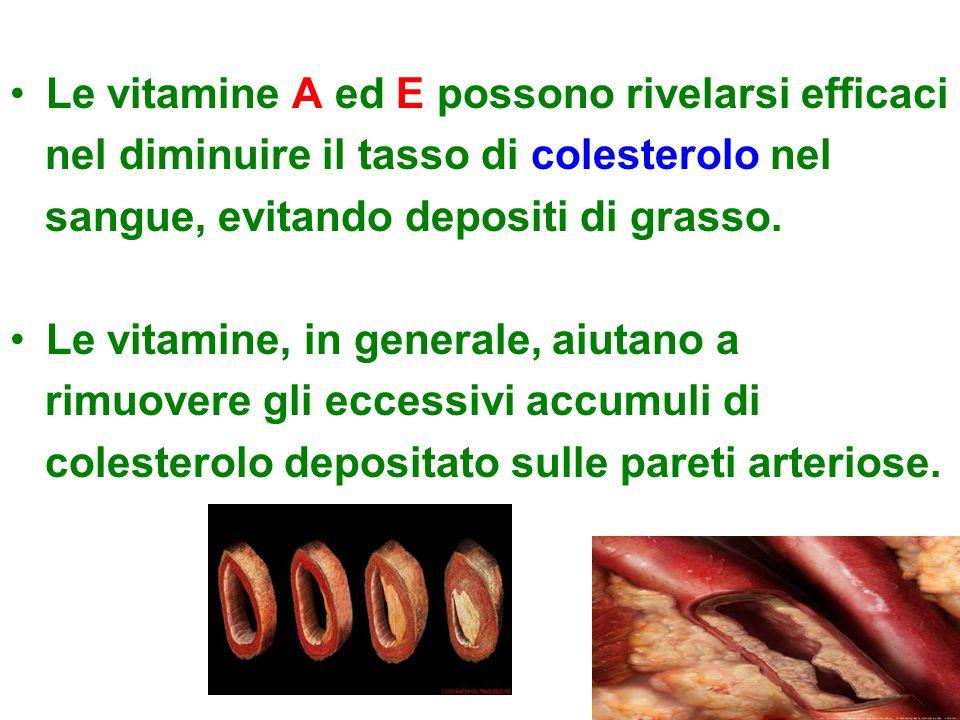 Le vitamine A ed E possono rivelarsi efficaci nel diminuire il tasso di colesterolo nel sangue, evitando depositi di grasso. Le vitamine, in generale,