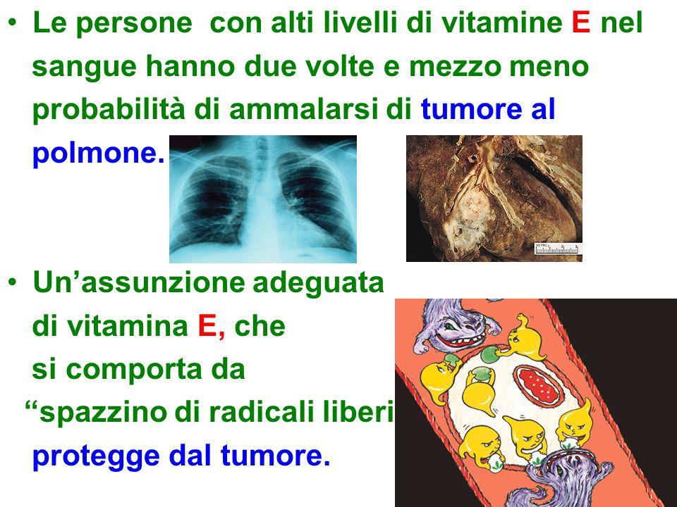 Le persone con alti livelli di vitamine E nel sangue hanno due volte e mezzo meno probabilità di ammalarsi di tumore al polmone. Un'assunzione adeguat